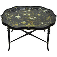 English Scalloped Papier Mâché Hand-Painted Tole Tray Faux Bamboo Table Stand