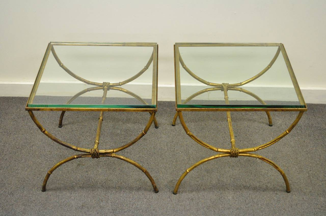 Pair of Italian Hollywood Regency Gold Gilt Metal and Glass Faux Bamboo Tables For Sale 6