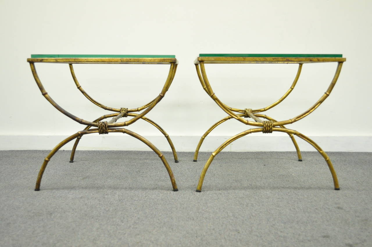 Pair of Italian Hollywood Regency Gold Gilt Metal and Glass Faux Bamboo Tables In Excellent Condition For Sale In Philadelphia, PA