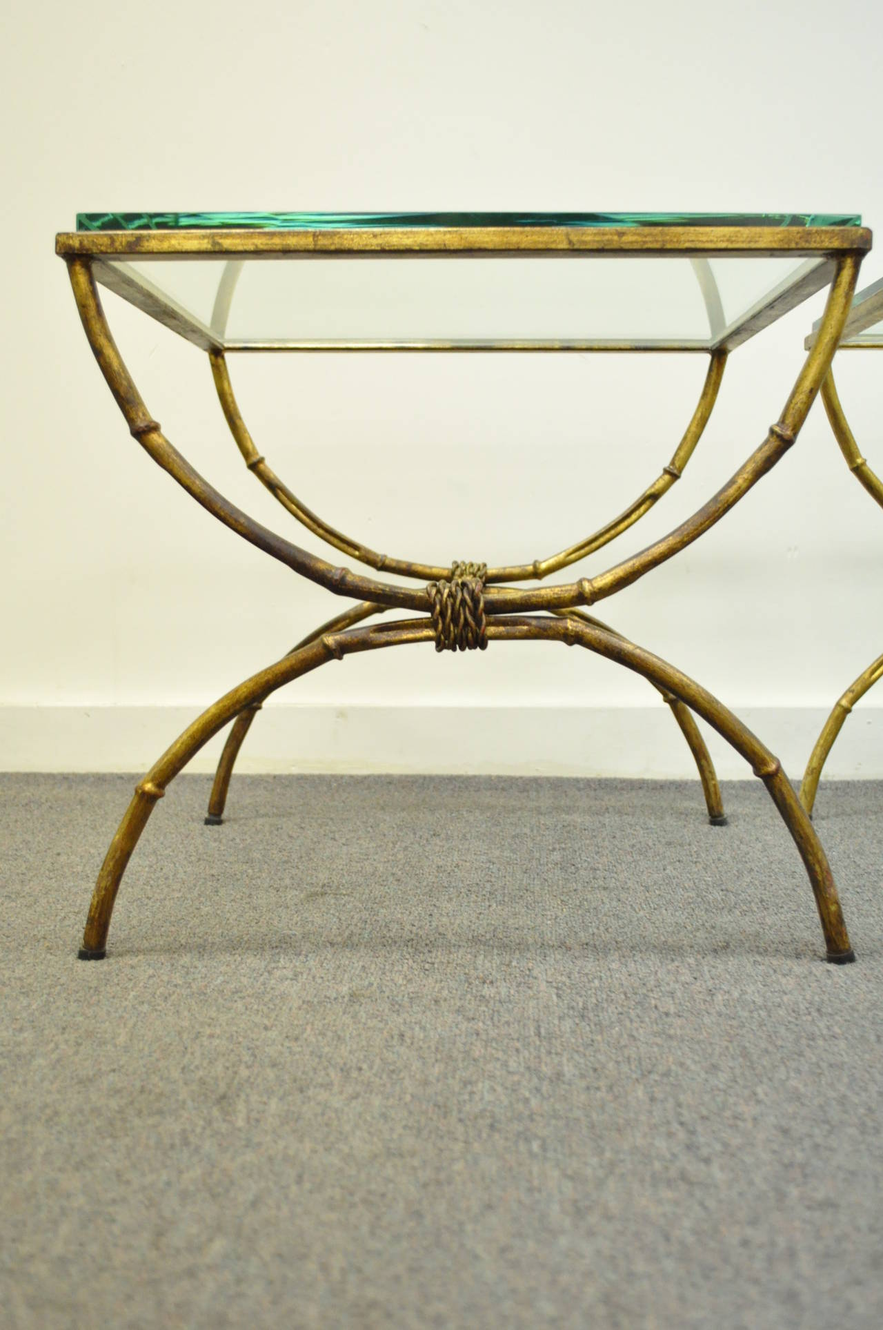 Pair of Italian Hollywood Regency Gold Gilt Metal and Glass Faux Bamboo Tables For Sale 5