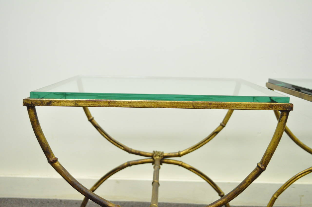 20th Century Pair of Italian Hollywood Regency Gold Gilt Metal and Glass Faux Bamboo Tables For Sale