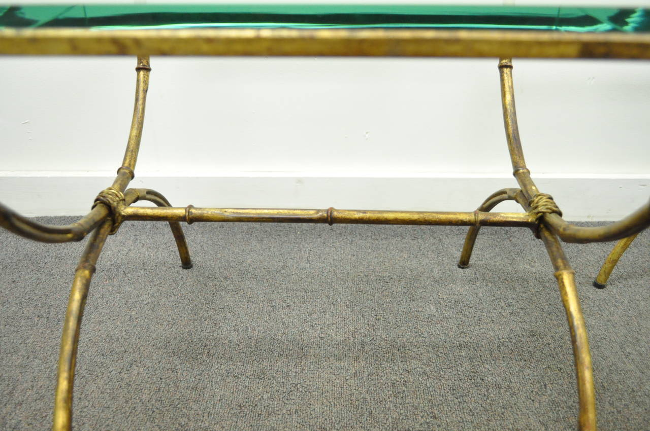 Pair of Italian Hollywood Regency Gold Gilt Metal and Glass Faux Bamboo Tables For Sale 2