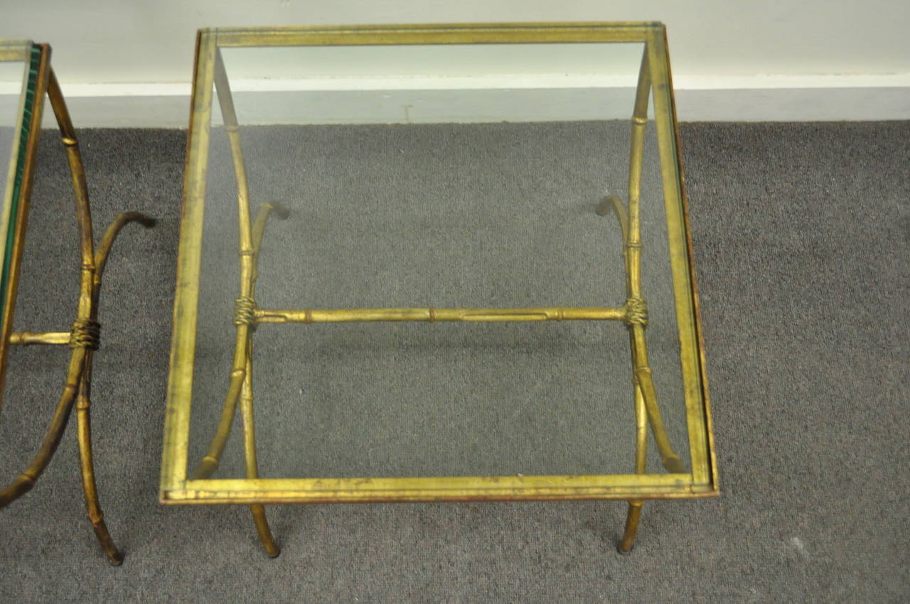 Pair of Italian Hollywood Regency Gold Gilt Metal and Glass Faux Bamboo Tables For Sale 4