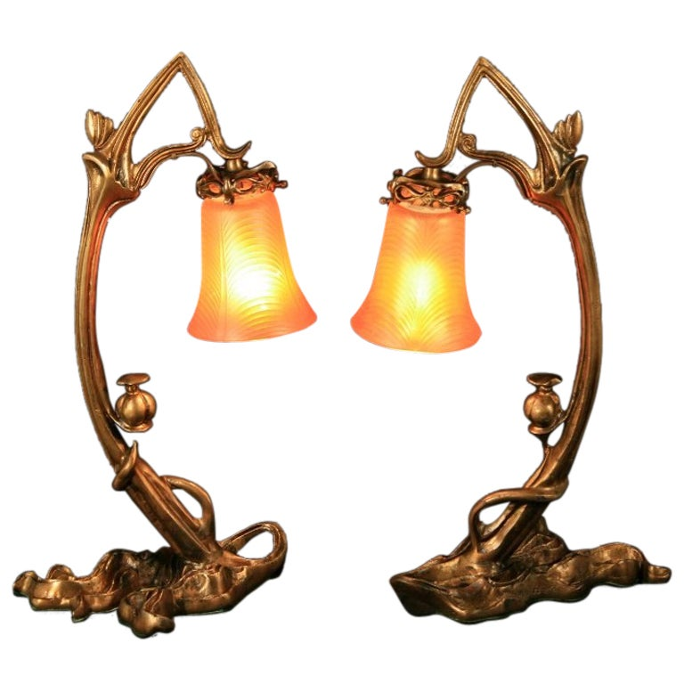 Pair of bronze art nouveau ribbed glass tulip table lamps at 1stdibs