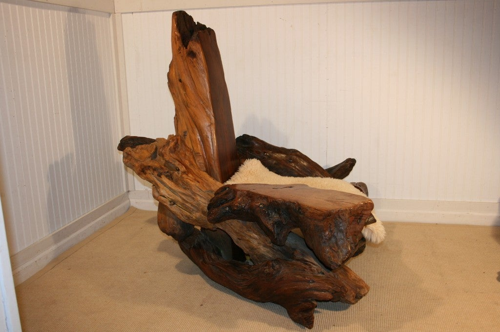 Oversized Man Cave Driftwood Lounge Chair And Ottoman