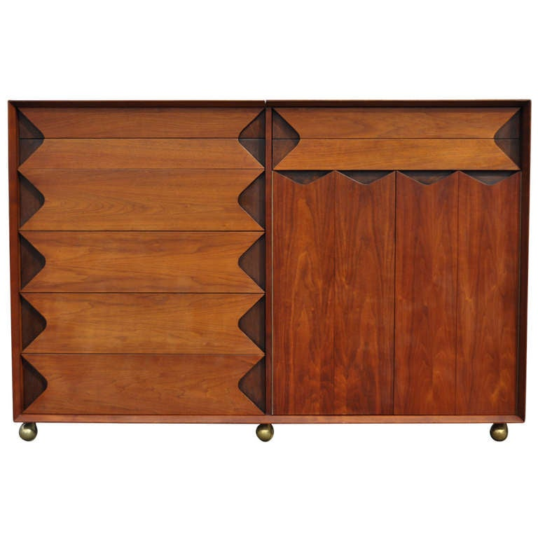 Walnut Grosfeld House Tall Chest Credenza By Marc Berge Mid Century Modern Danish Style