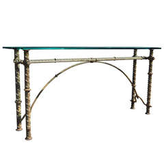 Iron & Glass Brutalist Style Console Sofa Hall Table after Ilana Goor