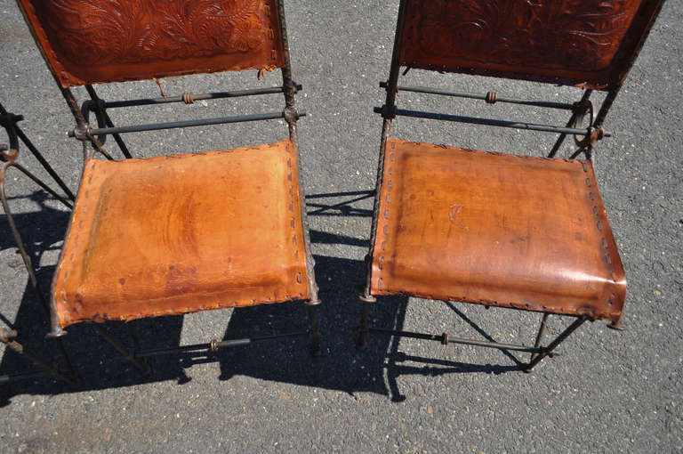 20th Century Set 4 Iron & Tooled Leather Brutalist Dining Chairs Attributed after Ilana Goor For Sale