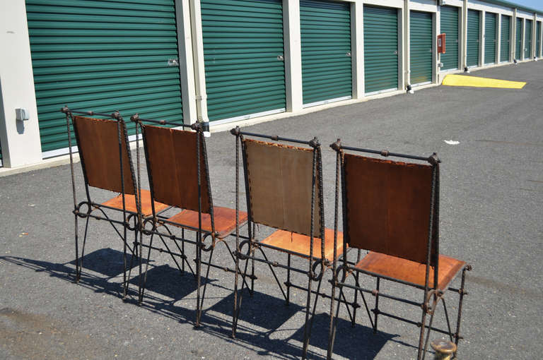 Set 4 Iron & Tooled Leather Brutalist Dining Chairs Attributed after Ilana Goor For Sale 2