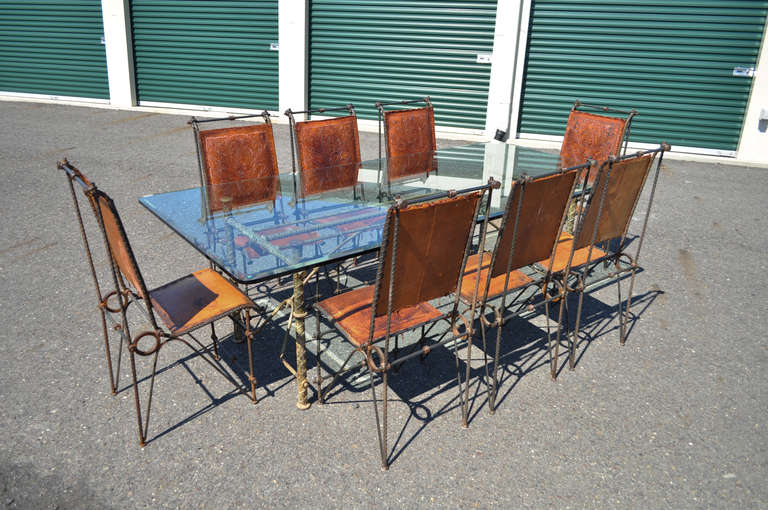 Iron And Glass Brutalist Dining Set Table And 8 Leather Chairs After