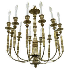 Stunning Italian, Carved Giltwood Twelve-Arm, Neoclassical Style Chandelier