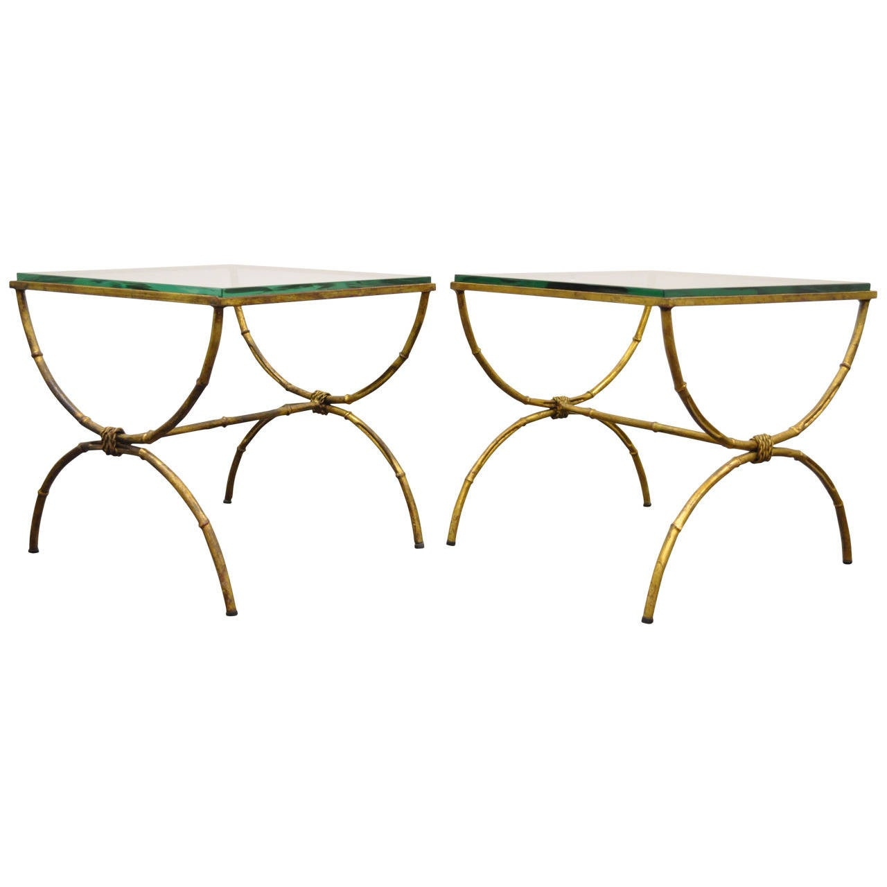 Pair of Italian Hollywood Regency Gold Gilt Metal and Glass Faux Bamboo Tables For Sale
