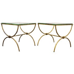 Pair Italian Hollywood Regency Gold Gilt Metal and Glass Faux Bamboo Side Tables