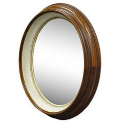 Oval Deep Frame Solid Walnut Regency Style Bullseye or Shadowbox Mirror
