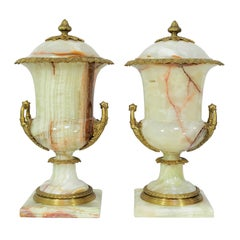 Pair of French Louis XVI Empire Style Onyx and Bronze Lidded Urn Cassolettes