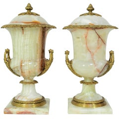 Pair of French Louis XVI Style Onyx and Bronze Lidded Urn Form Table Cassolettes