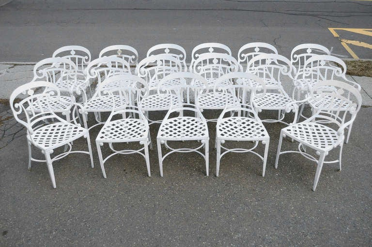 14 Tavern on the Green Neoclassical Klismos Cast Aluminum Dining Armchairs For Sale 5