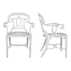 14 Tavern on the Green Neoclassical Klismos Cast Aluminum Garden Dining Chairs