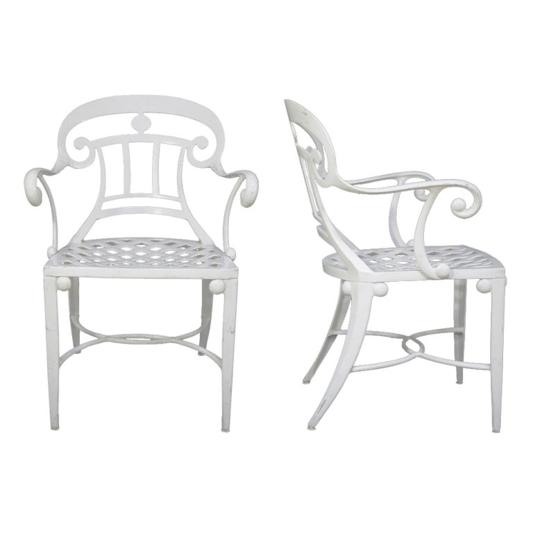 14 Tavern on the Green Neoclassical Klismos Cast Aluminum Dining Armchairs For Sale