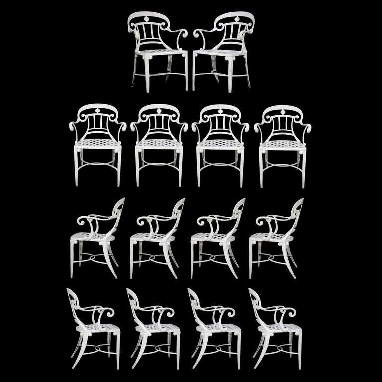 14 Tavern on the Green Neoclassical Klismos Cast Aluminum Dining Armchairs For Sale 4