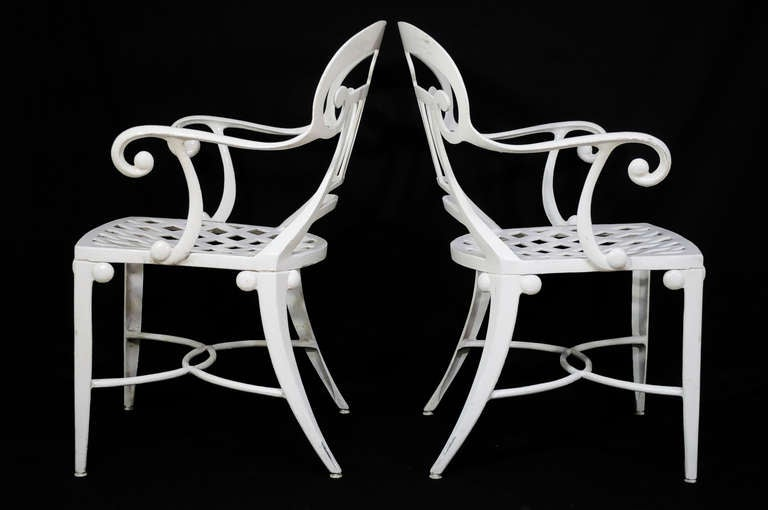 20th Century 14 Tavern on the Green Neoclassical Klismos Cast Aluminum Dining Armchairs For Sale