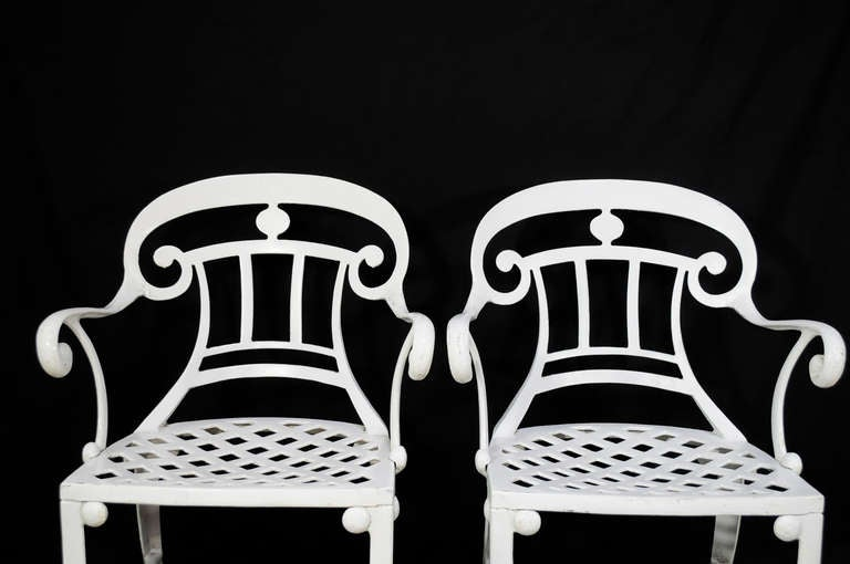 American 14 Tavern on the Green Neoclassical Klismos Cast Aluminum Dining Armchairs For Sale
