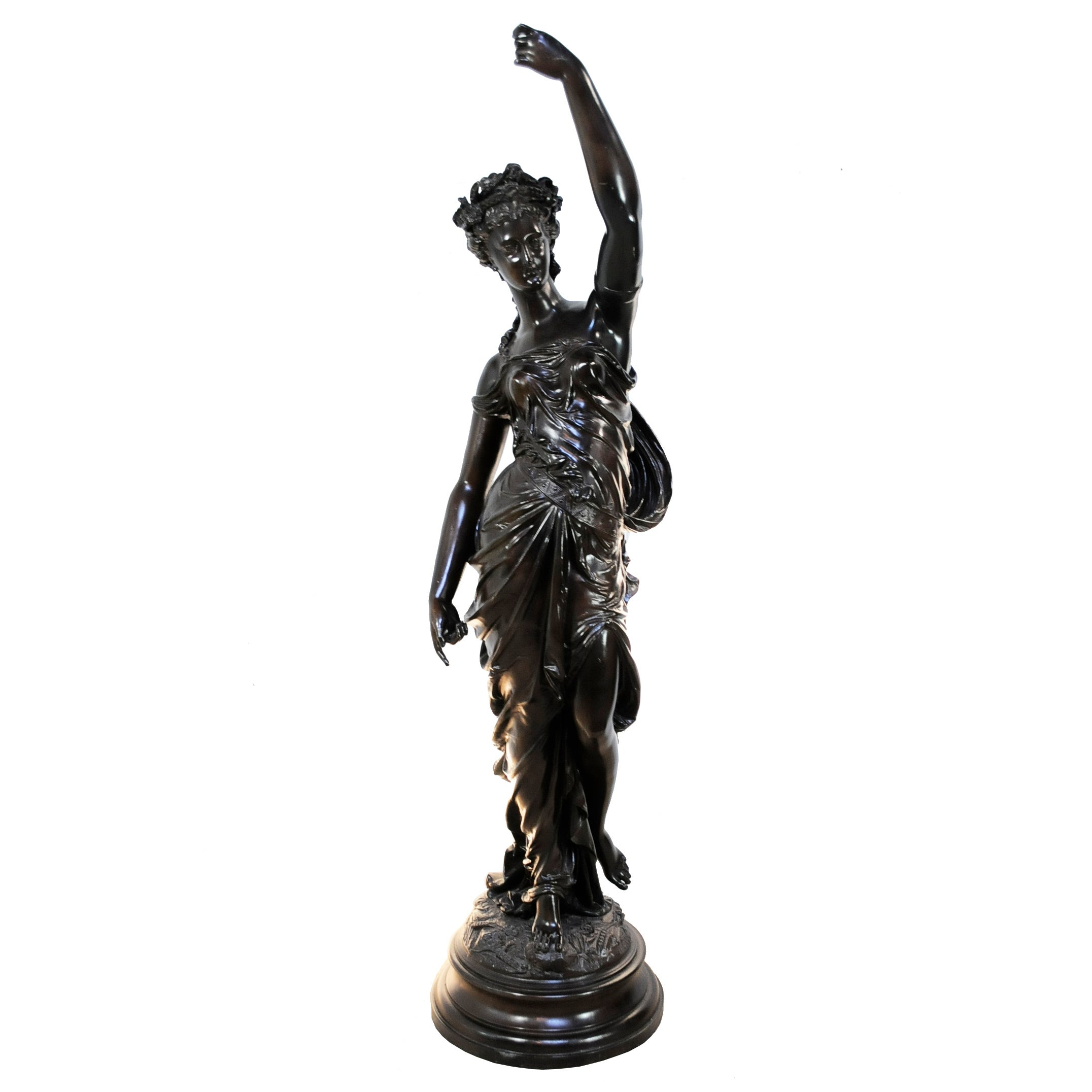 """19th C. Victorian 54"""" Tall French Spelter Newel Post Maiden Woman Figure Statue"""