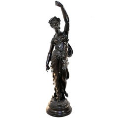 "19th C. Victorian 54"" Tall French Spelter Newel Post Maiden Woman Figure Statue"
