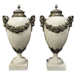 20th Century Pair of Marble and Bronze Figural Ram Head Table Top Urn Cassolettes