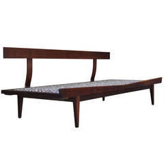 1960s Vintage Sculpted Walnut Mid-Century Danish Modern Bentwood Daybed