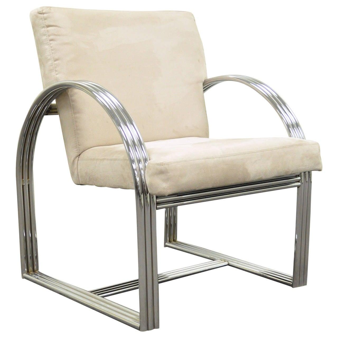 Milo Baughman for Thayer Coggin Triple-Chrome Band Art Deco Style Lounge Chair