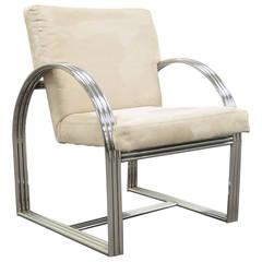 Milo Baughman for Thayer Coggin Triple-Chrome Band Art Deco Style Club Chair