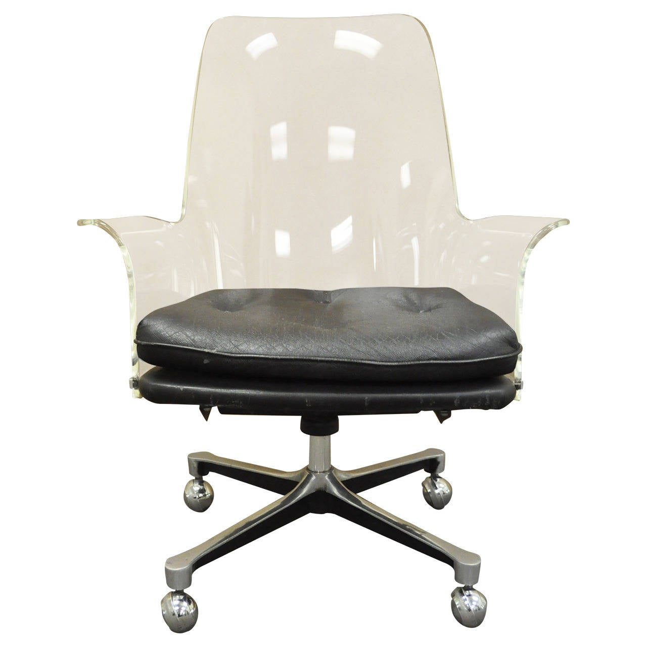 1960s Sculpted Lucite Swivel Desk Chair After Vladimir Kagan And Estelle  Laverne For Sale