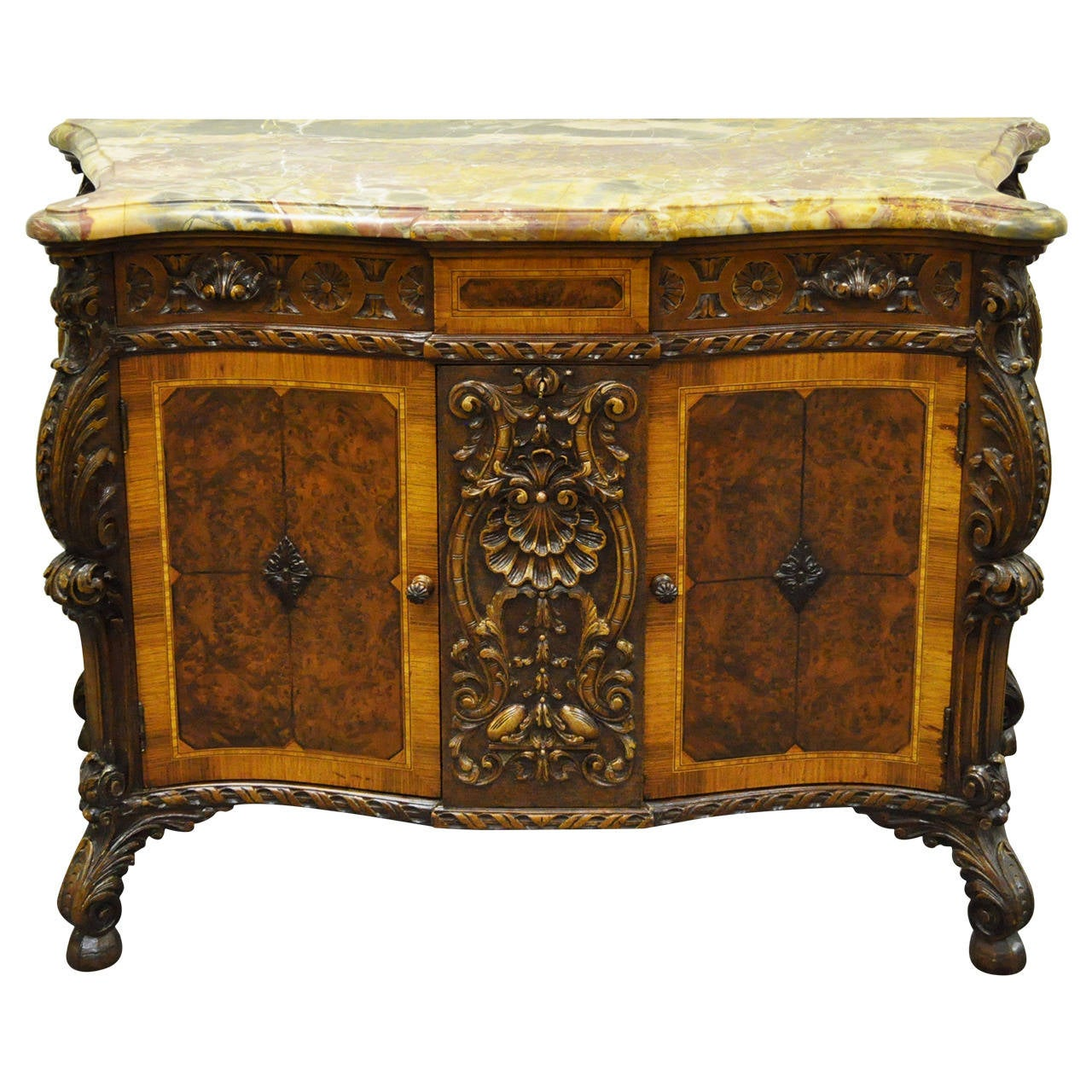 French baroque furniture - French Louis Xv Or Baroque Style Carved Rogue Marble Top Custom Commode 1