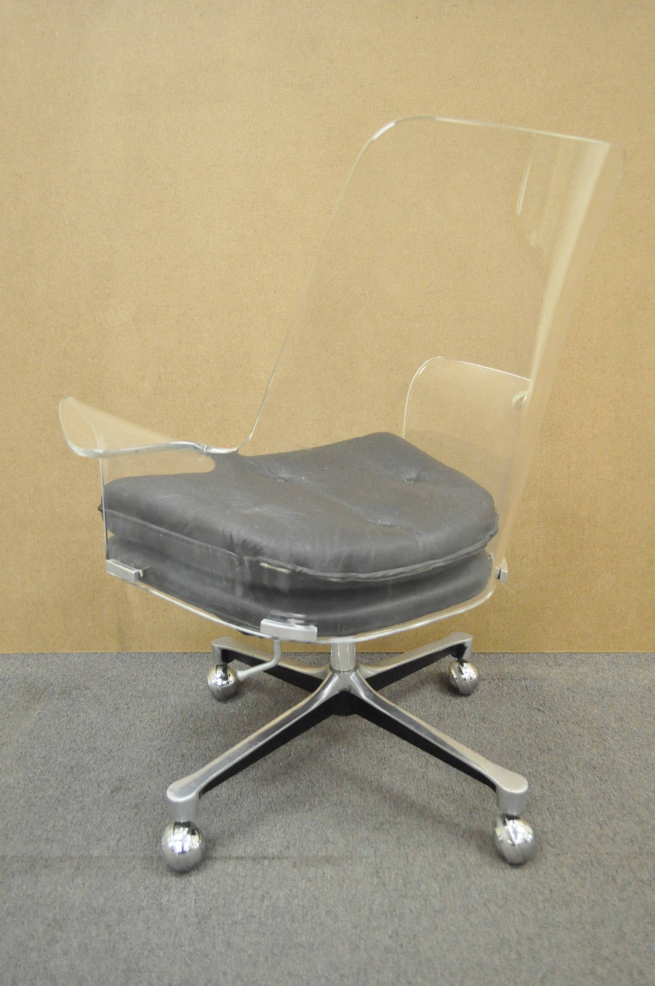 1960s Sculpted Lucite Swivel Desk Chair after Vladimir