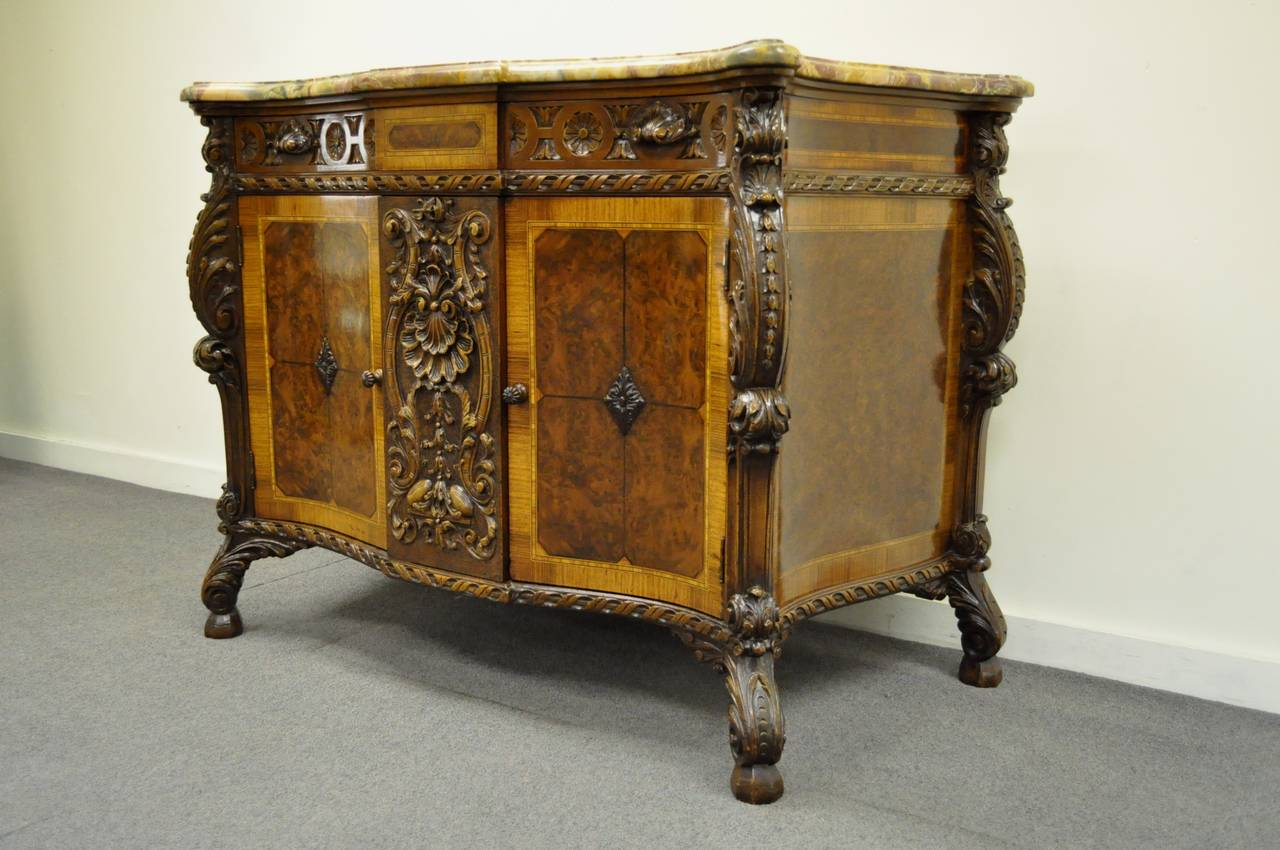 French Louis XV Baroque Style Carved Burr Walnut Rogue Marble Top Commode Server For Sale 6