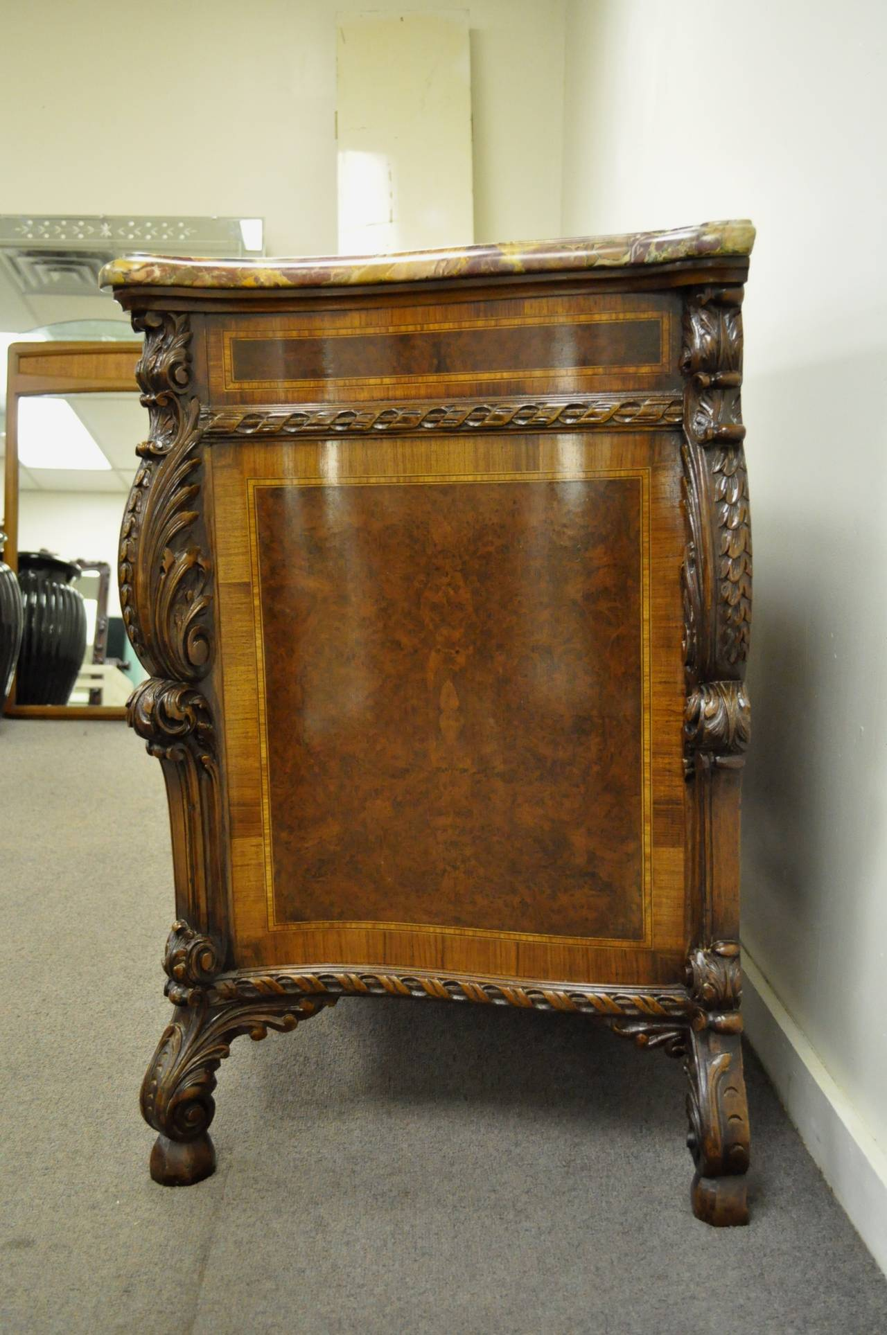 French Louis XV Baroque Style Carved Burr Walnut Rogue Marble Top Commode Server For Sale 4