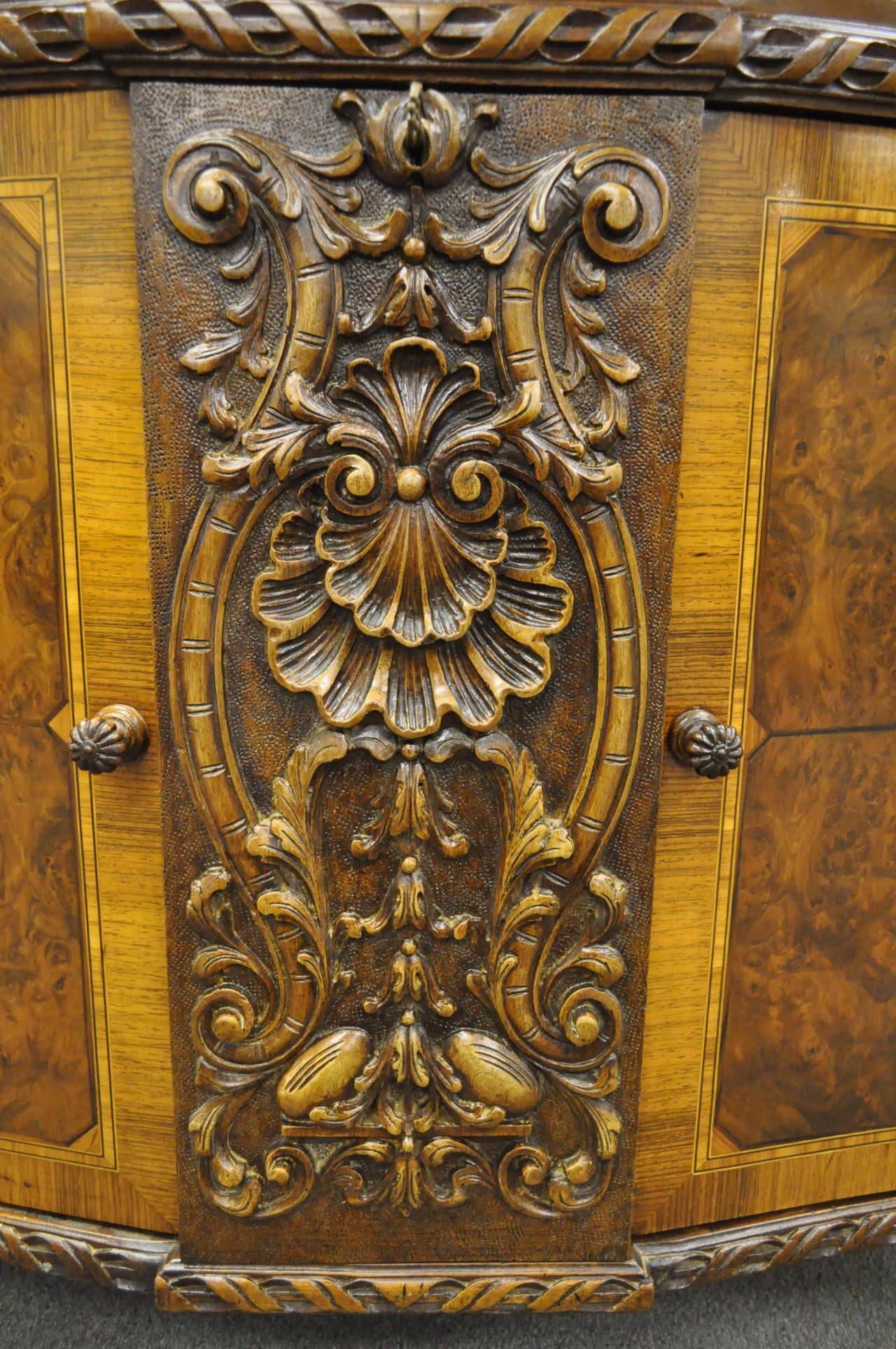 French Louis XV Baroque Style Carved Burr Walnut Rogue Marble Top Commode Server In Good Condition For Sale In Philadelphia, PA