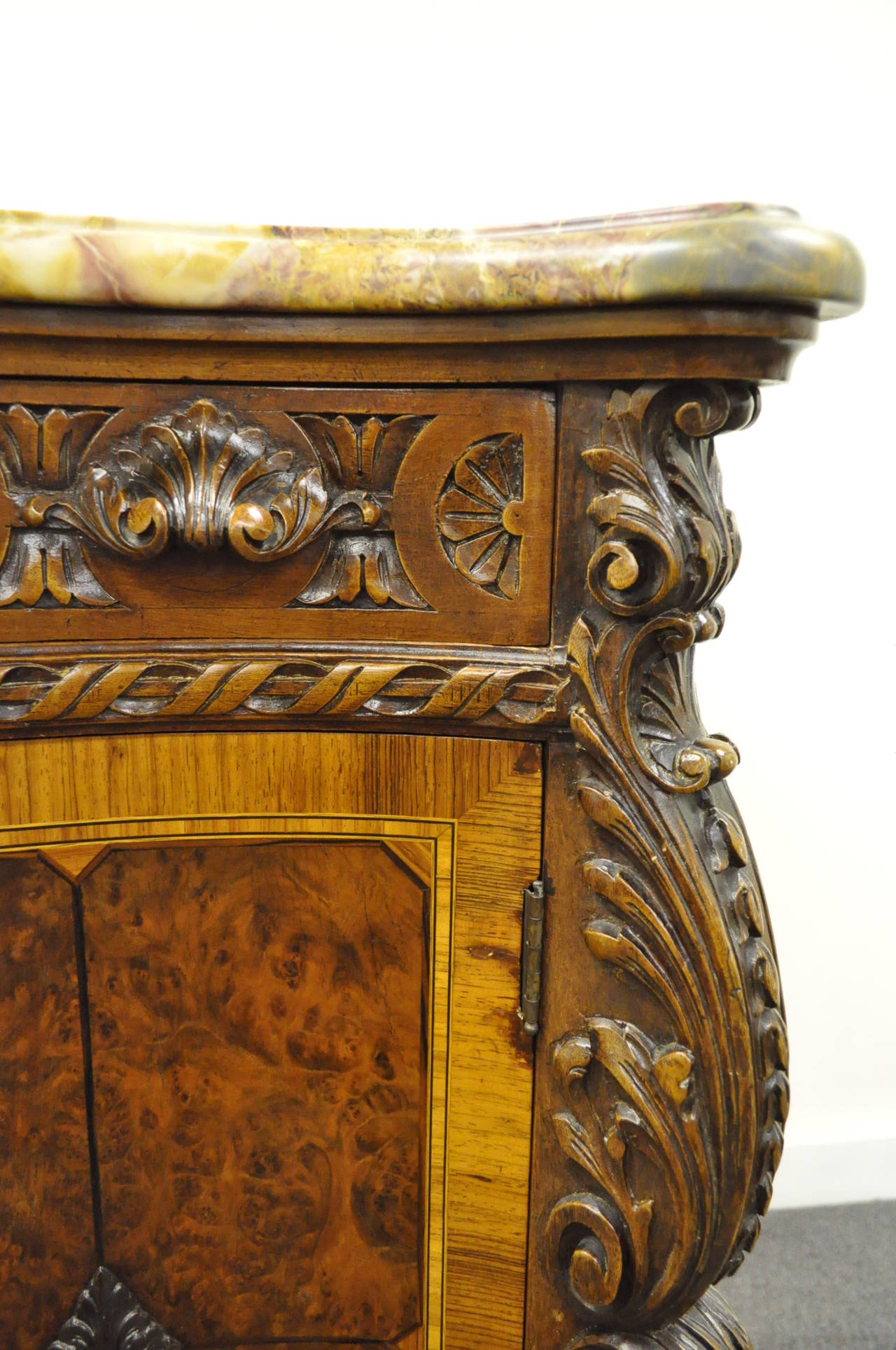French Louis XV Baroque Style Carved Burr Walnut Rogue Marble Top Commode Server For Sale 1
