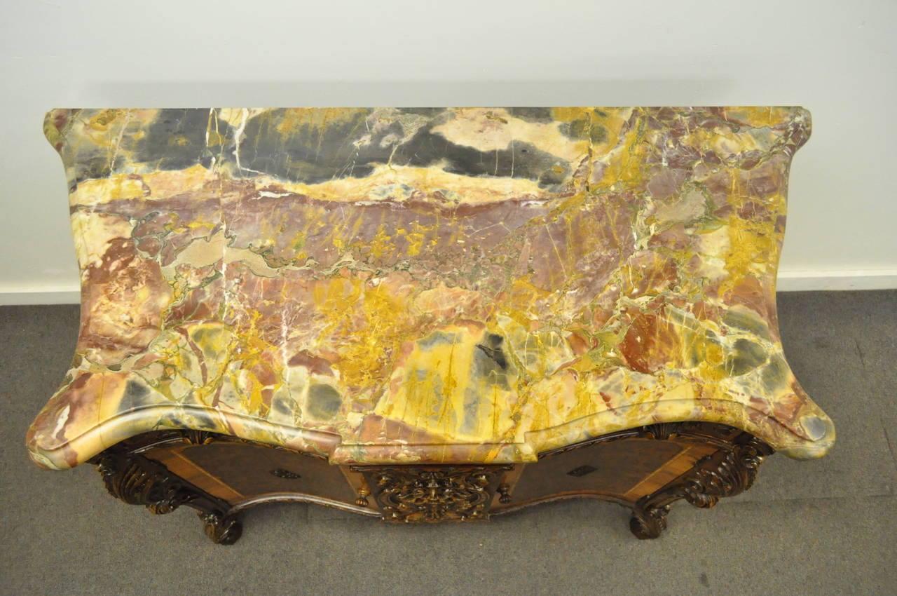 20th Century French Louis XV Baroque Style Carved Burr Walnut Rogue Marble Top Commode Server For Sale