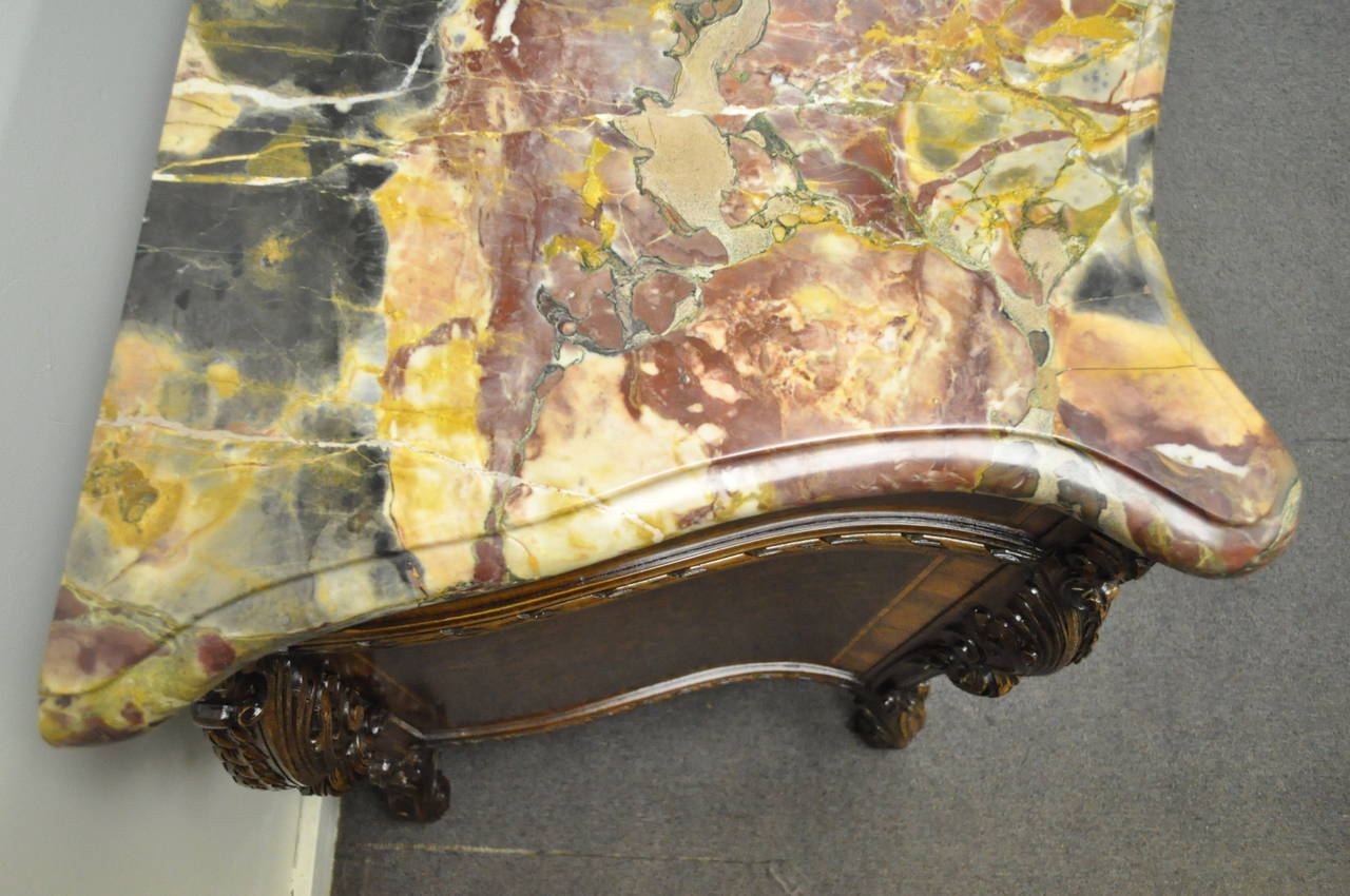 French Louis XV Baroque Style Carved Burr Walnut Rogue Marble Top Commode Server For Sale 2
