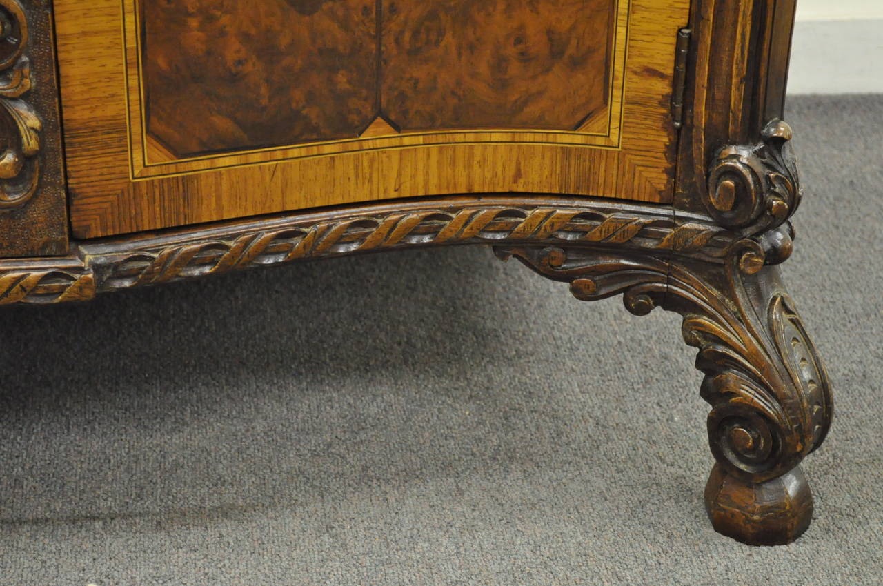 French Louis XV Baroque Style Carved Burr Walnut Rogue Marble Top Commode Server For Sale 3