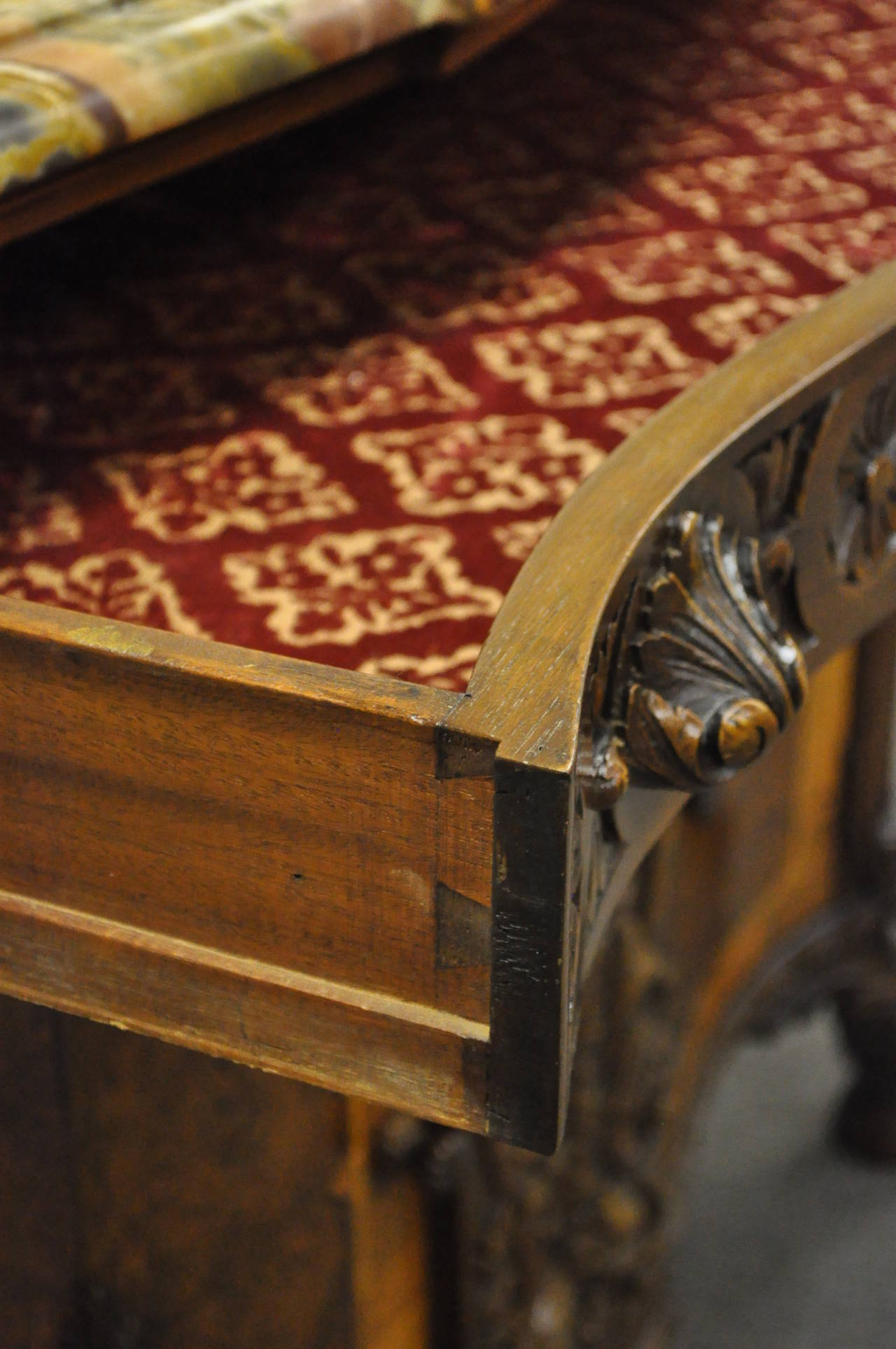 French Louis XV Baroque Style Carved Burr Walnut Rogue Marble Top Commode Server For Sale 5