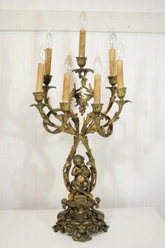 Ornate 19th C French Rococo Figural Cherub & Bird Bronze Candelabra Table Lamp