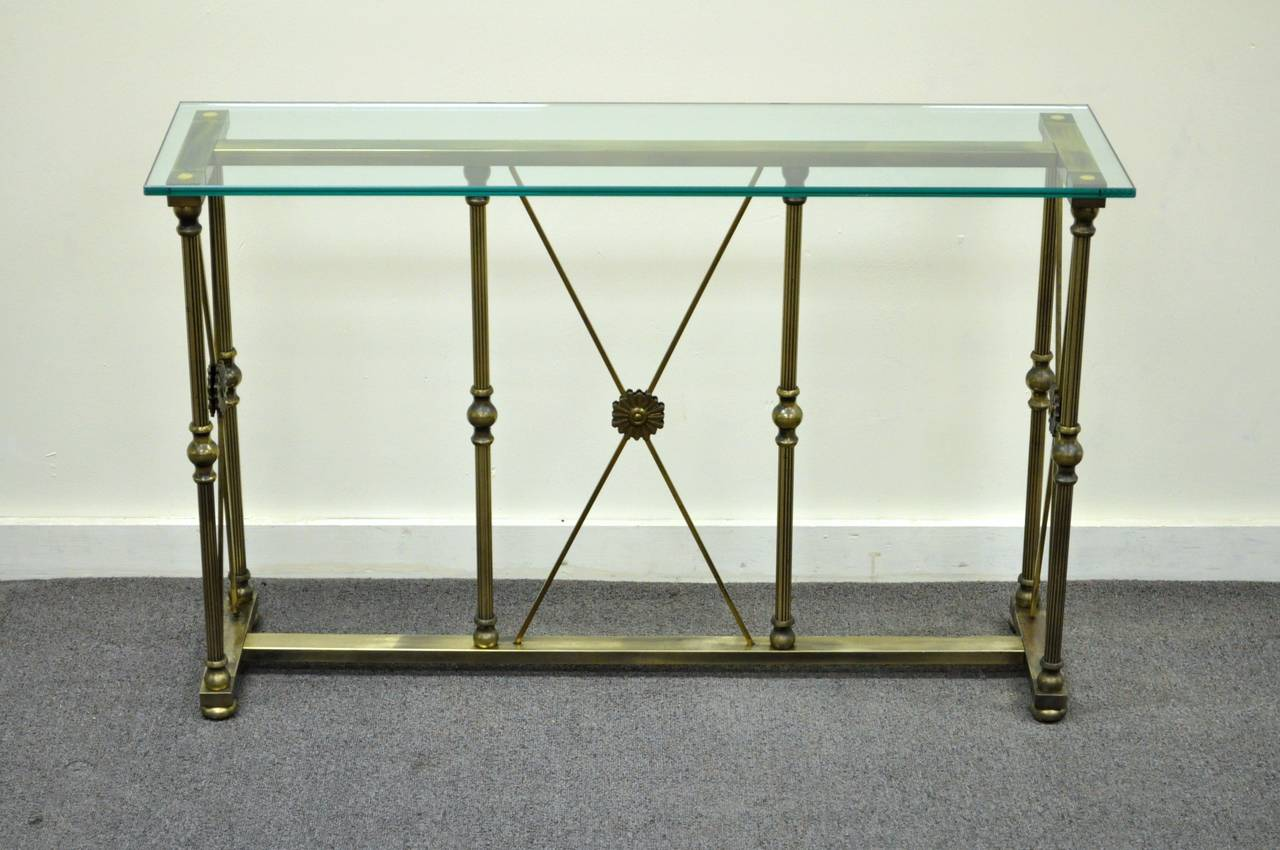 Mastercraft X Form Brass And Glass Console Table In The Neoclassical Taste For Sale At 1stdibs