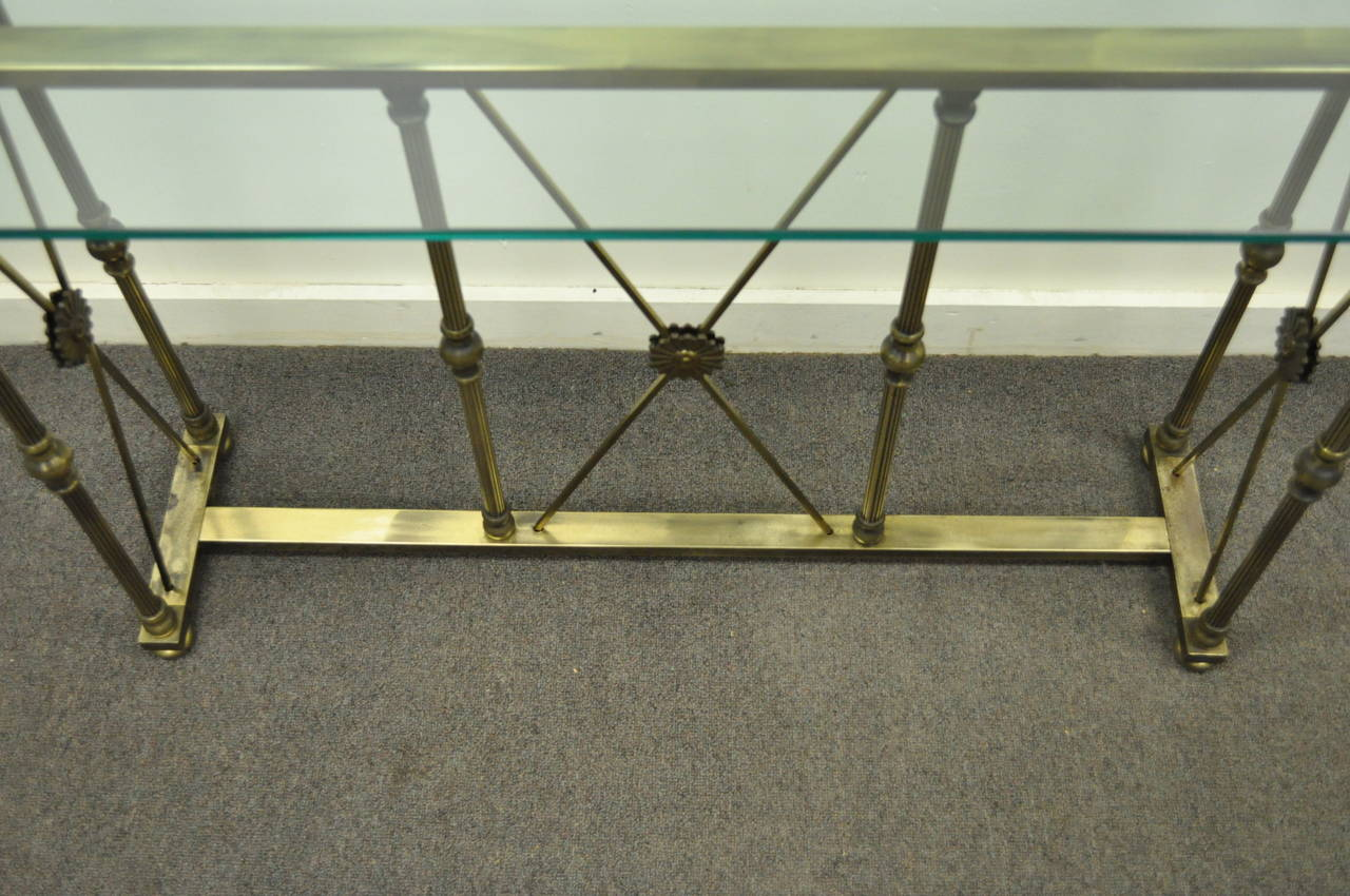 Mastercraft X Form Brass And Glass Console Table In The Neoclassical Taste At 1stdibs
