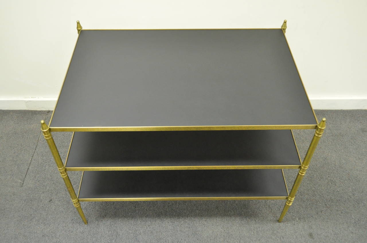 French Neoclassical Maison Jansen Style Bronze and Masonite Serving Side Table For Sale 2