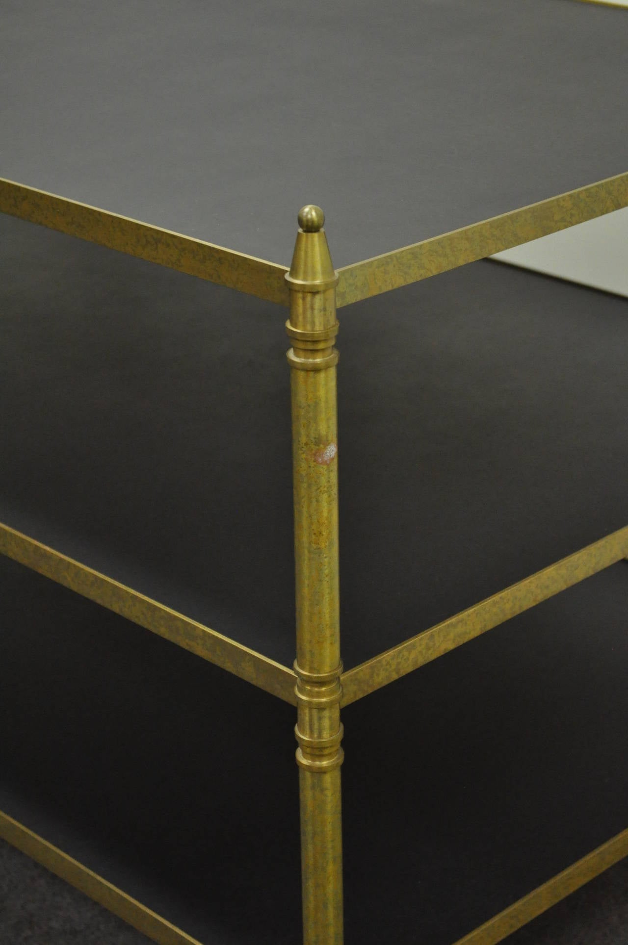French Neoclassical Maison Jansen Style Bronze and Masonite Serving Side Table For Sale 1