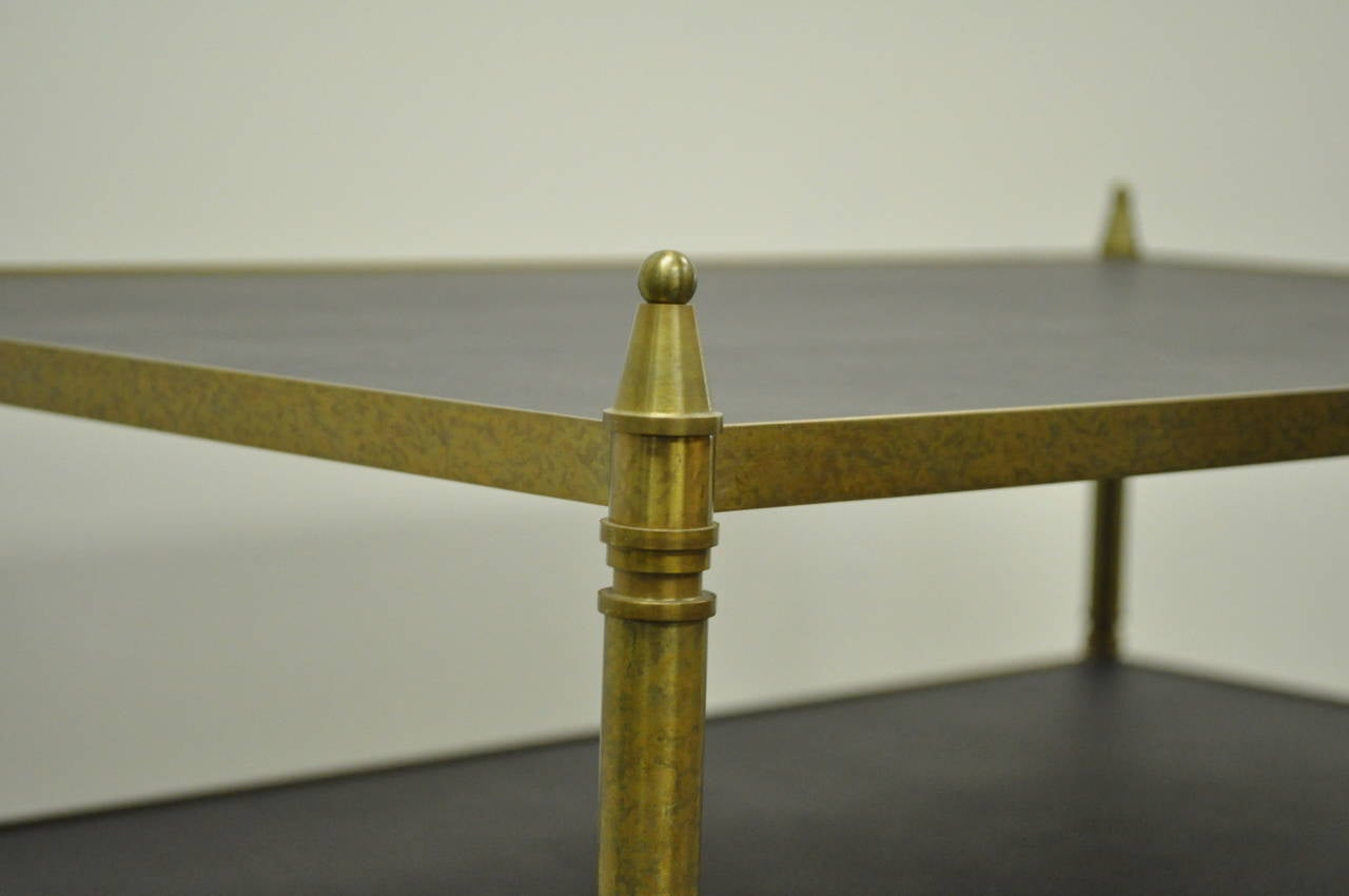 20th Century French Neoclassical Maison Jansen Style Bronze and Masonite Serving Side Table For Sale