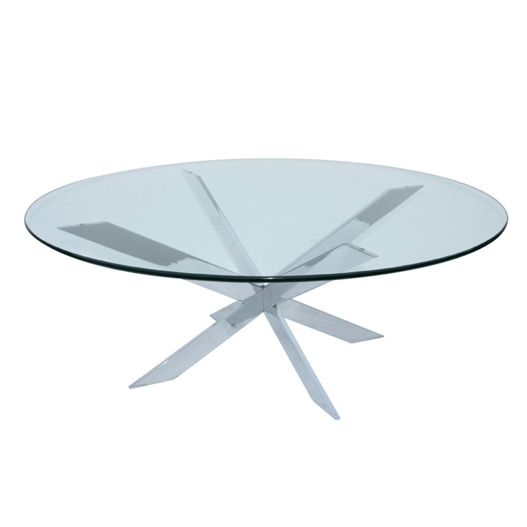 Chrome X Base Glass Top Cocktail Table By Leon Rosen For Pace At 1stdibs